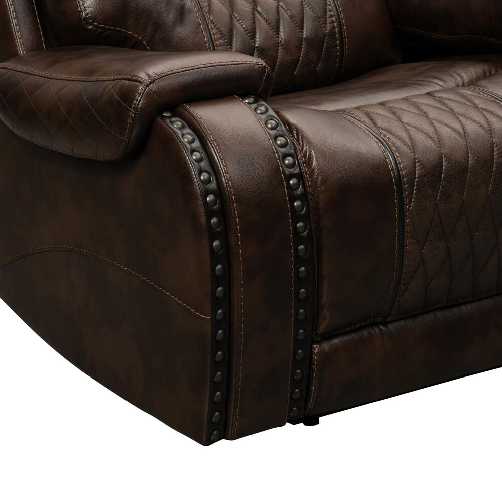 Prime Resources International Rhyme Motion Leather Power Recliner Sofa with Headrest in Bronze Walnut, , large