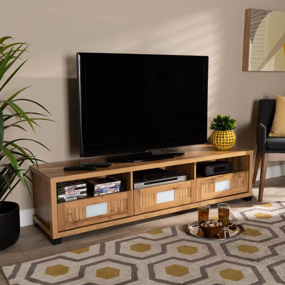 "Baxton Studio Gerhardine 65"" TV Stand in Oak Brown and Black, , large"