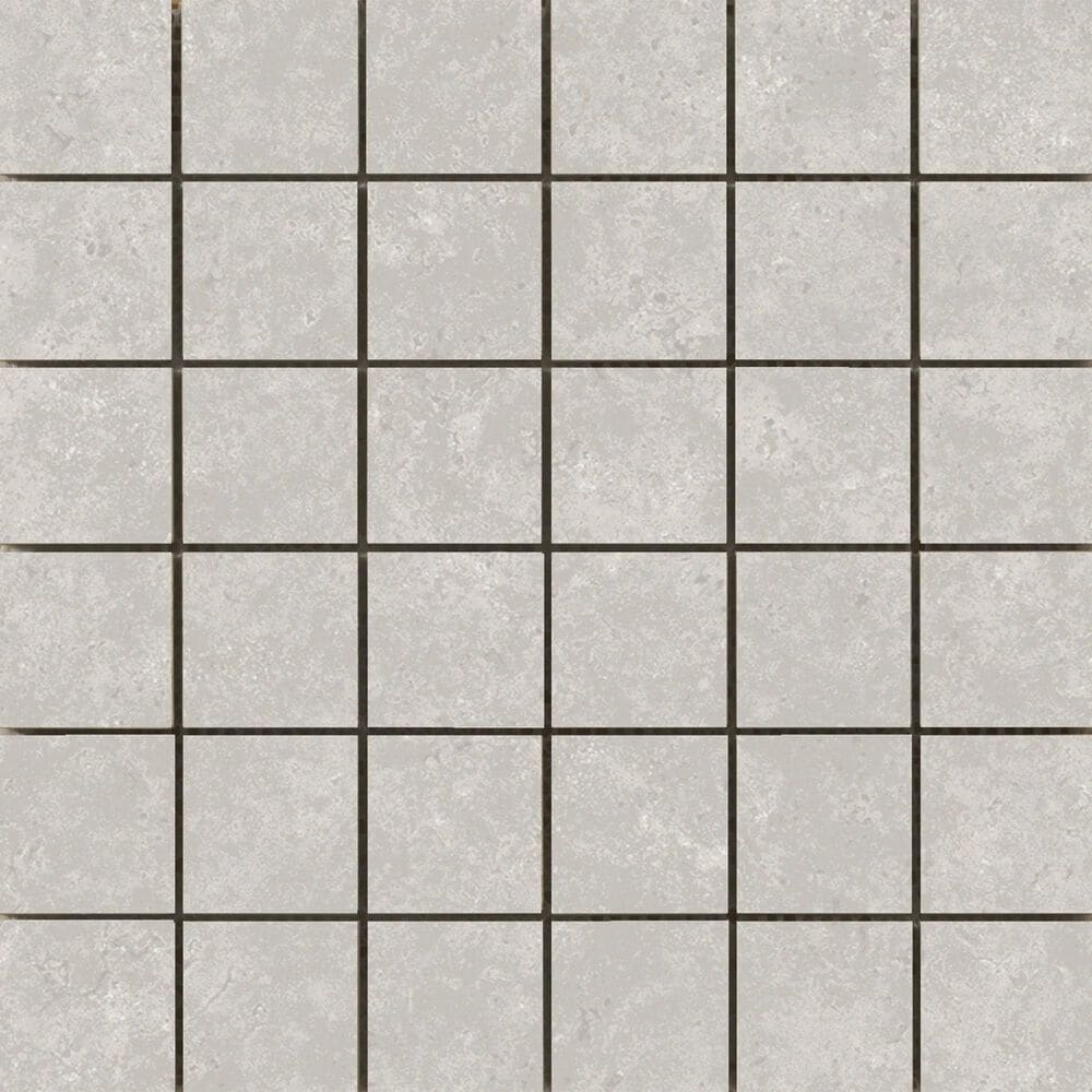 "Emser Tesola Silver 2"" x 2"" Square on 12"" x 12"" Ceramic Mosaic Sheet, , large"