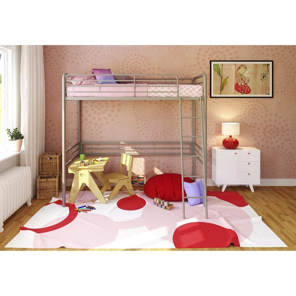 DHP DHP Twin Loft Bed in Silver, , large