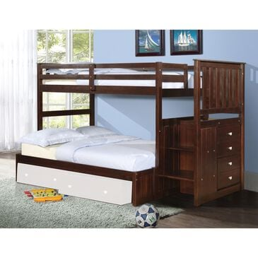 Cambria Designs Twin over Full Staircase Bunkbed in Cappuccino, , large