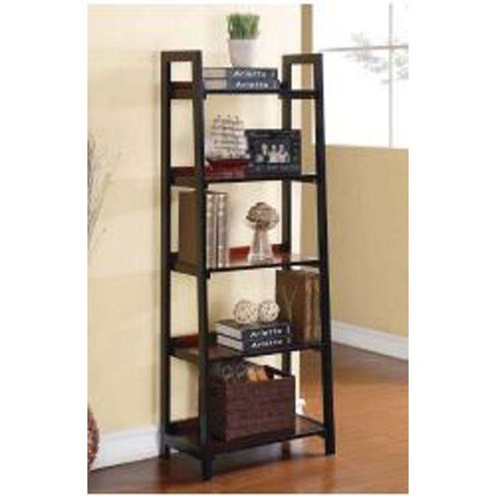 Linden Boulevard Camden Five Shelf Bookcase in Black Cherry, , large