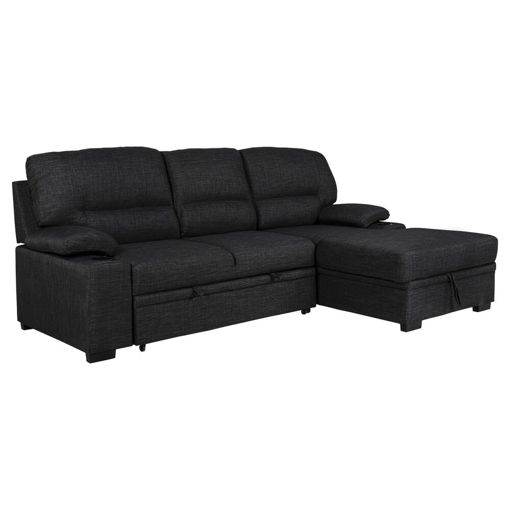 Primo Giuseppe Sofa with Storage Chaise in Charcoal Gray, , large
