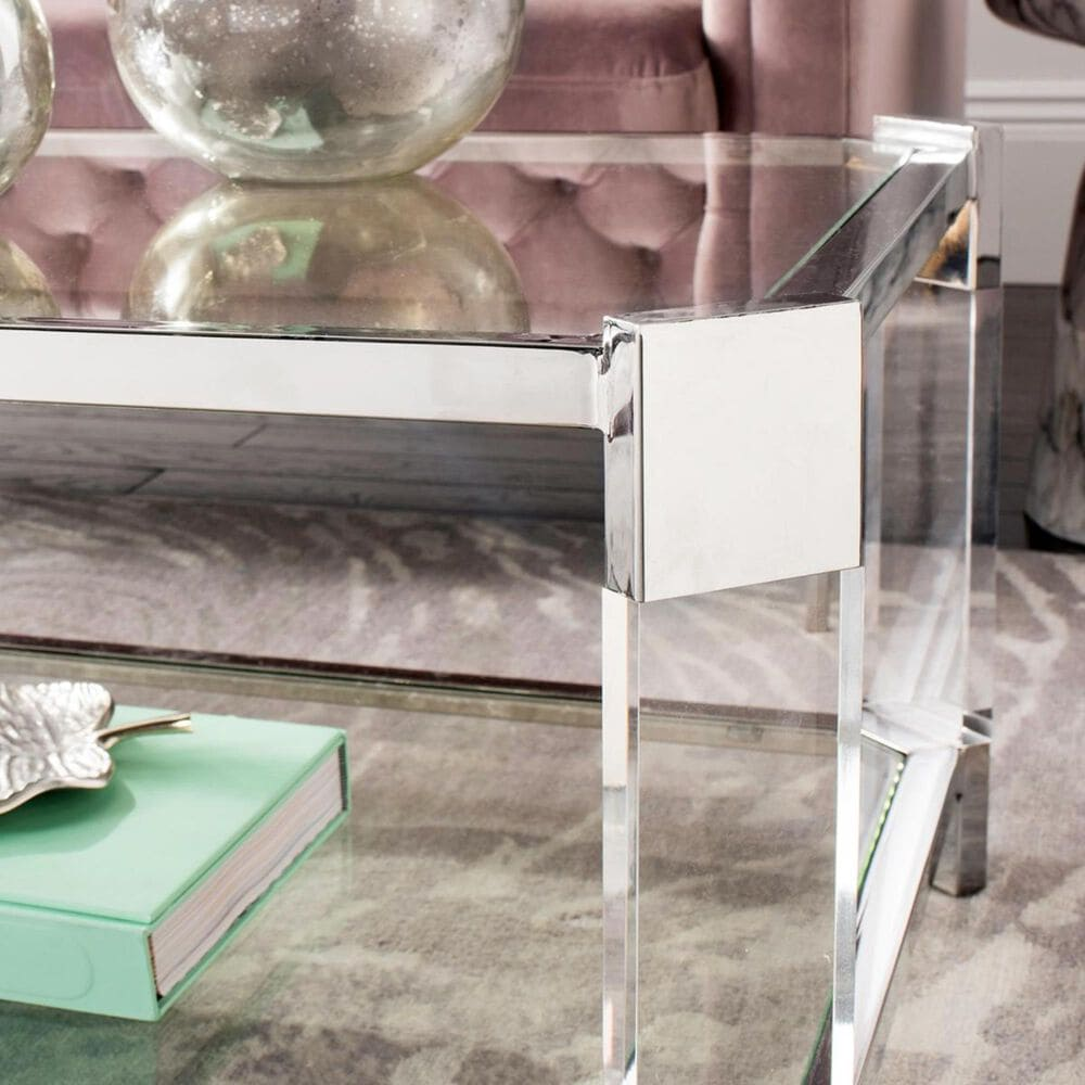 Safavieh Gianna Acrylic Coffee Table in Stainless Steel, , large