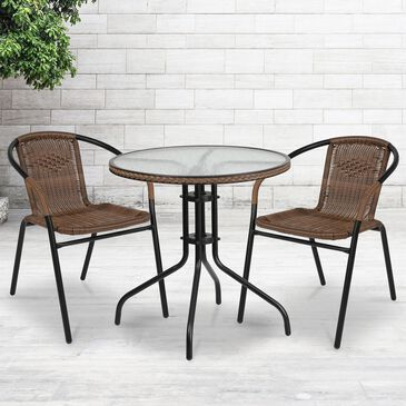 Flash Furniture 3-Piece Glass and Metal Table Set in Brown, , large