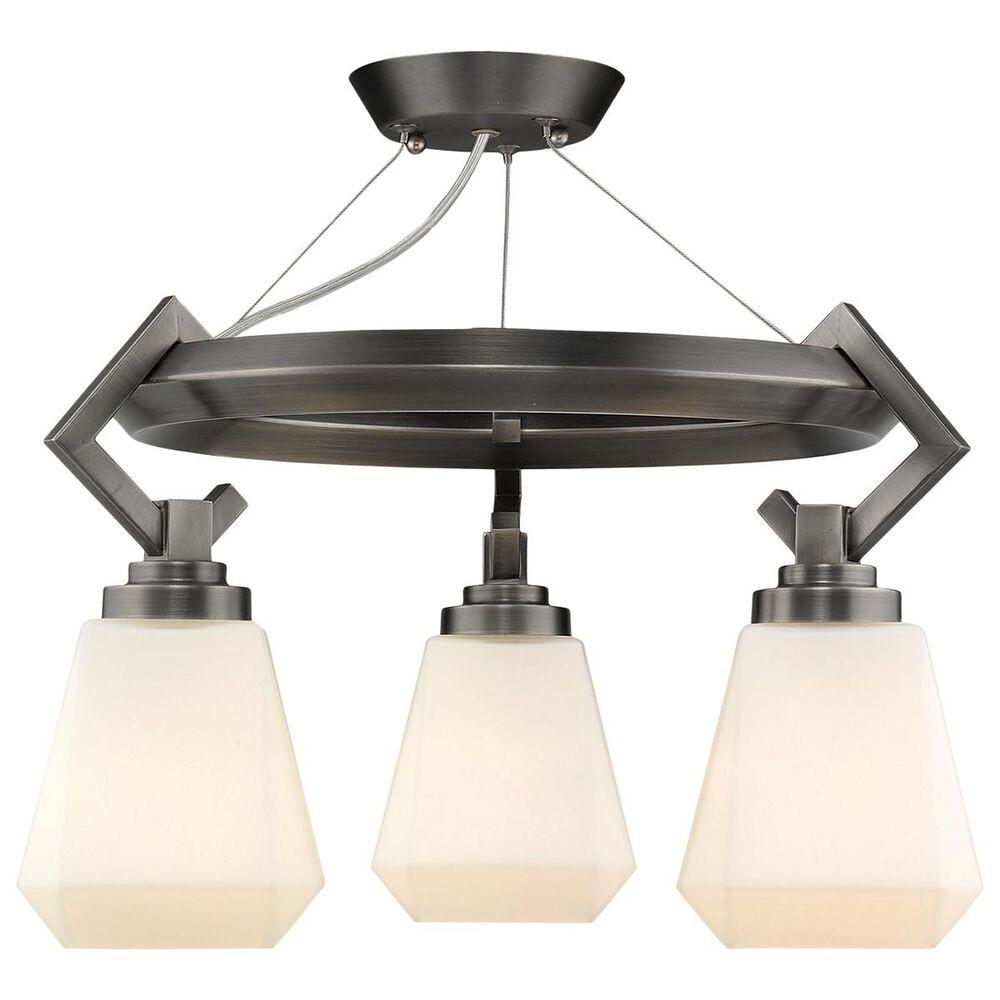 Golden Lighting Hollis 3-Light Semi Flush in Aged Steel, , large