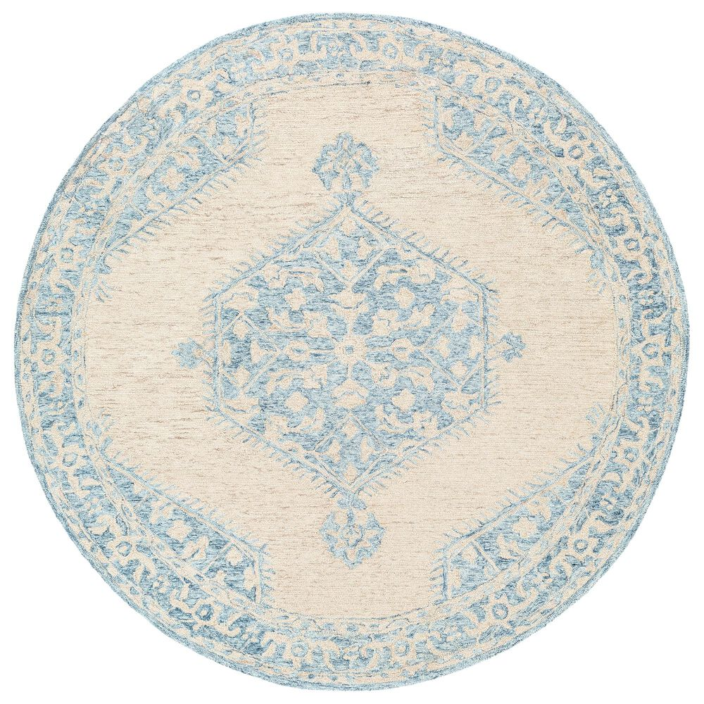 Surya Granada GND-2306 6' Round Pale Blue, Beige and Sky Blue Area Rug, , large
