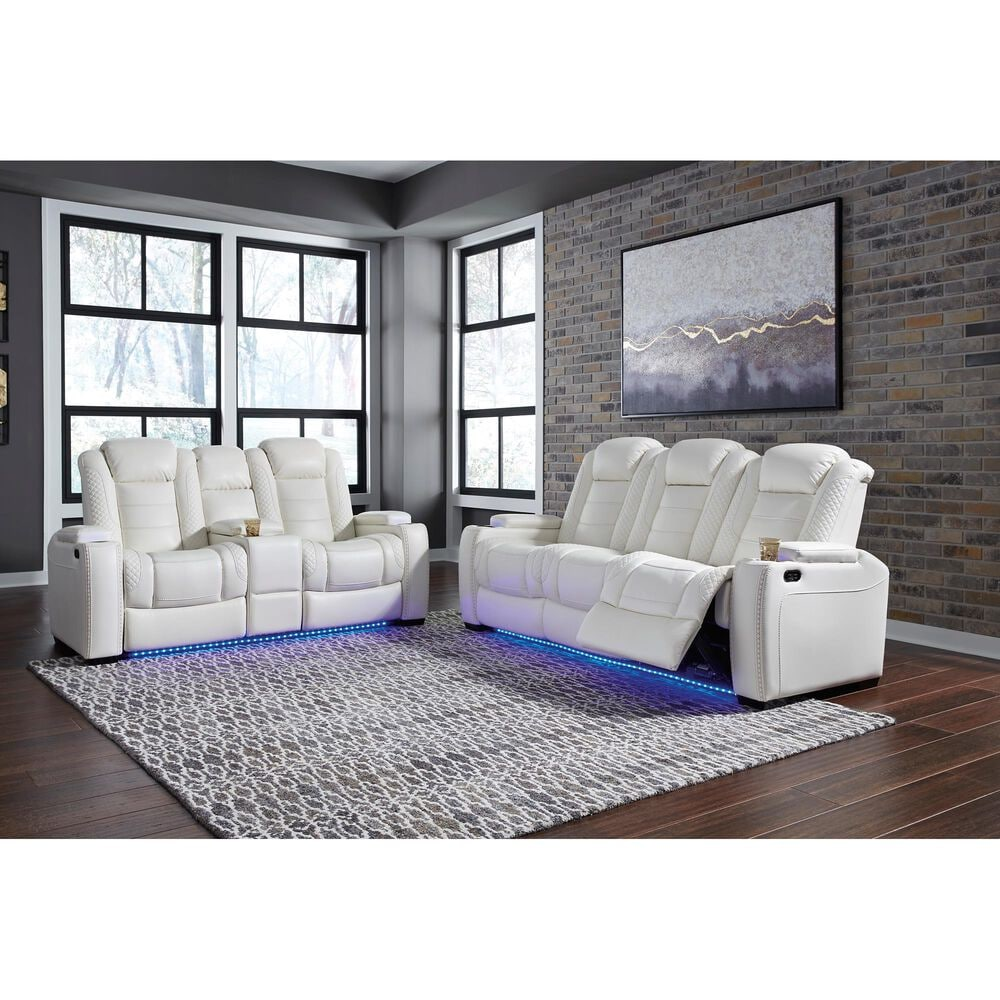 Signature Design by Ashley Party Time Power Reclining Sofa with Power Headrest in White, , large