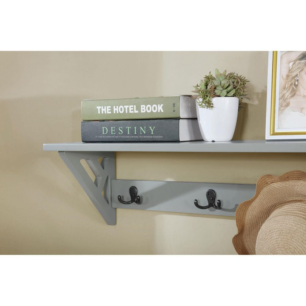 """Bolton Furniture Coventry 36"""" Coat Hook with Bench Hall Tree in Gray, , large"""