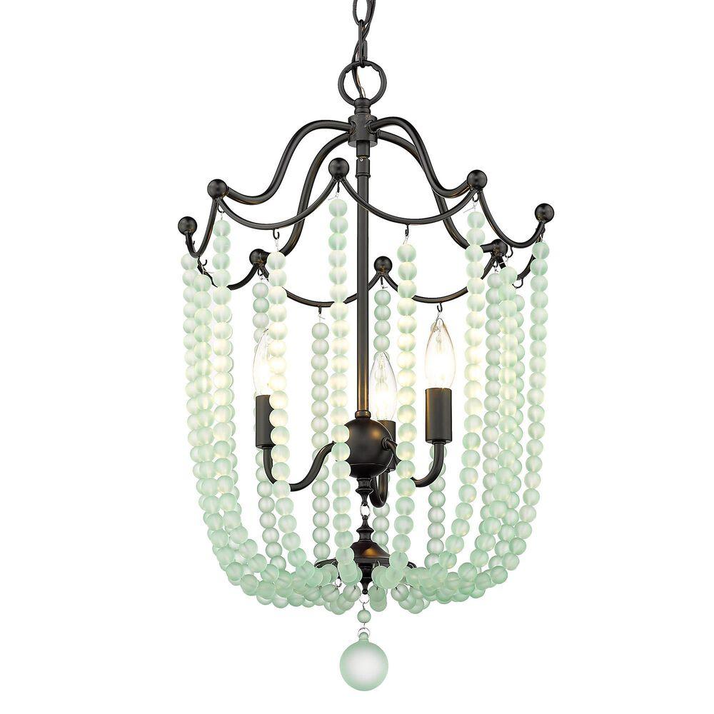 Golden Lighting Tiara 3-Light Pendant in Matte Black with Seafoam Crystal Beads, , large