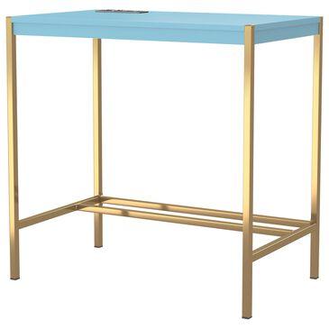Furniture of America Barlow Writing Desk in Aruba Blue/Gold, , large