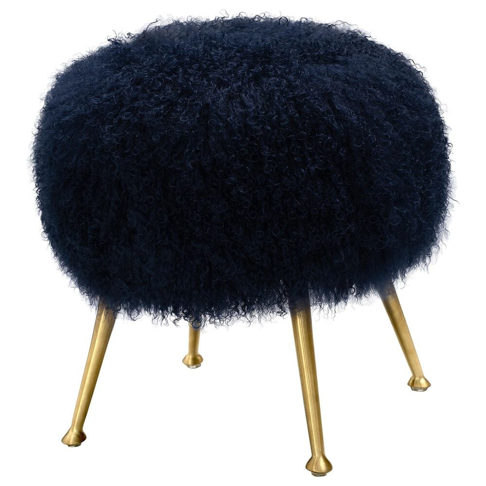 Safavieh Anna Ottoman in Navy and Gold, , large