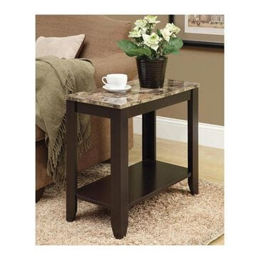 Monarch Specialties Accent Chairside Table with Marble Top in Cappuccino, , large