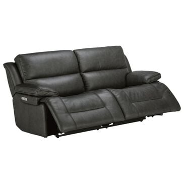 Flexsteel Apollo Leather Power Sofa with Headrest in Gray and Black, , large