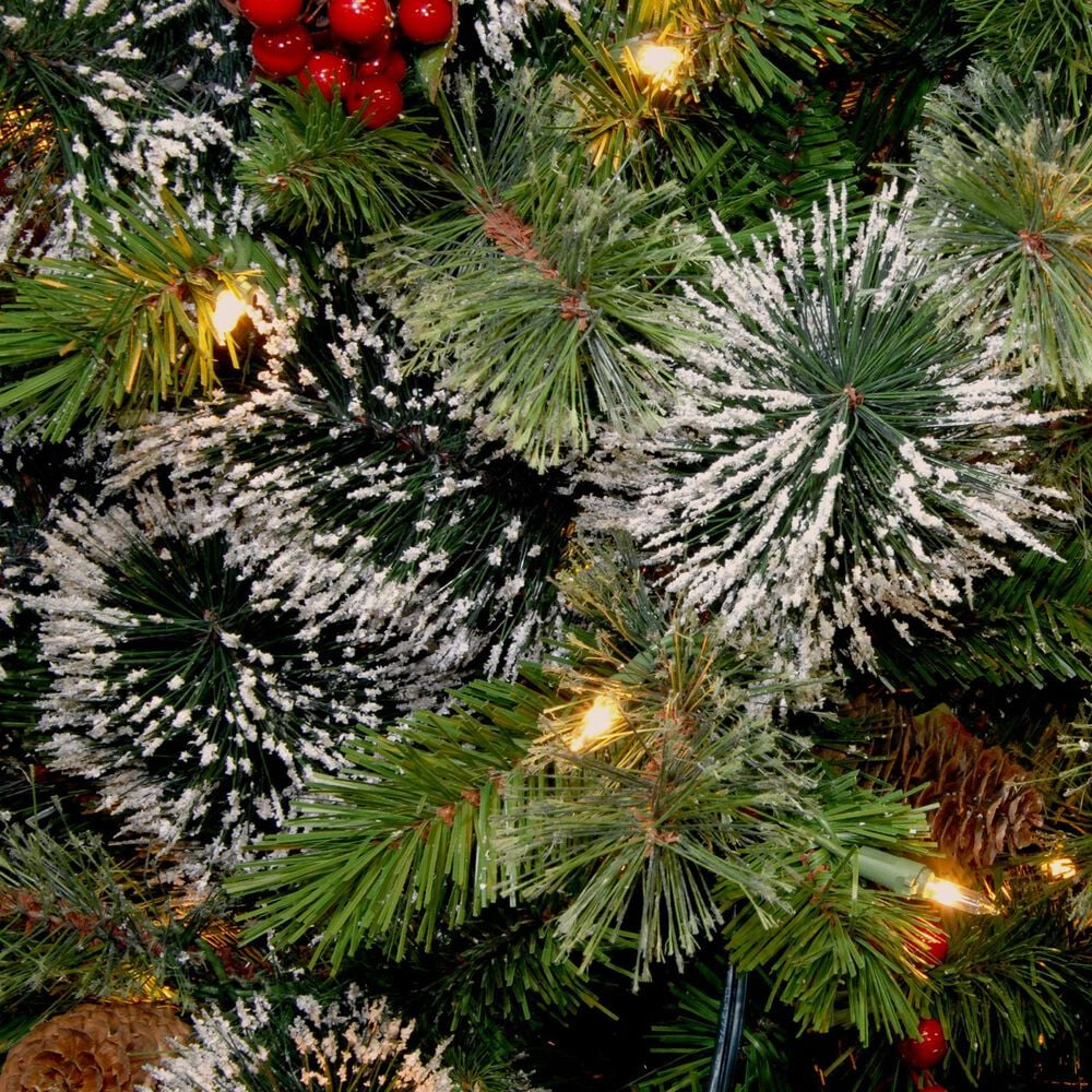 National Tree 6.5' Wintry Pine Slim Tree with Cones, Red Berries, Snowflakes & White Lights, , large