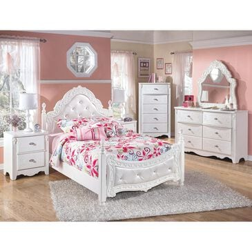 Signature Design by Ashley Exquisite 5 Piece Full Poster Bedroom Set in White, , large