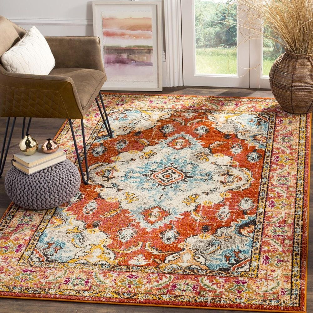 Safavieh Monaco MNC243H-1218 12' x 18' Orange/Light Blue Area Rug, , large