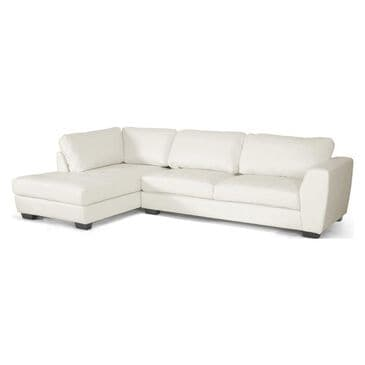 Baxton Studio White Bonded Leather 2-Piece Sectional with Left Side Facing Chaise, , large