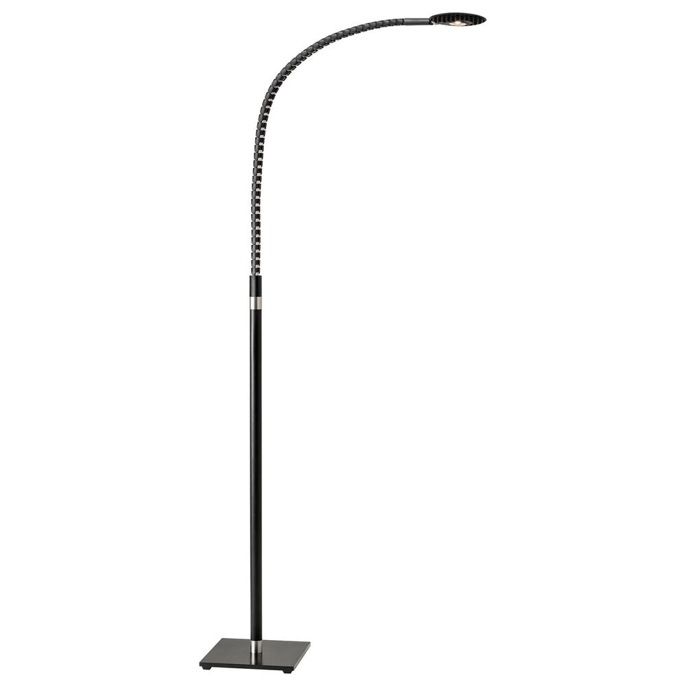 Adesso Natrix LED Floor Lamp in Black and Brushed Steel, , large