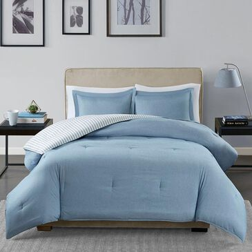 Hampton Park Hayden 3-Piece Full Comforter Set in Blue and White, , large