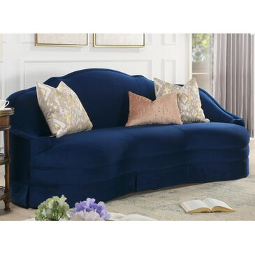 Jennifer Taylor Home Pianosa Upholstered Camelback Sofa with Skirt in Navy Blue, , large