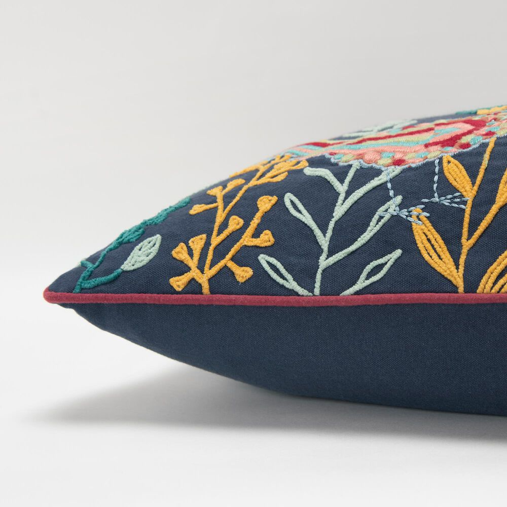 """Rizzy Home Floral 14"""" x 26"""" Pillow in Black, , large"""