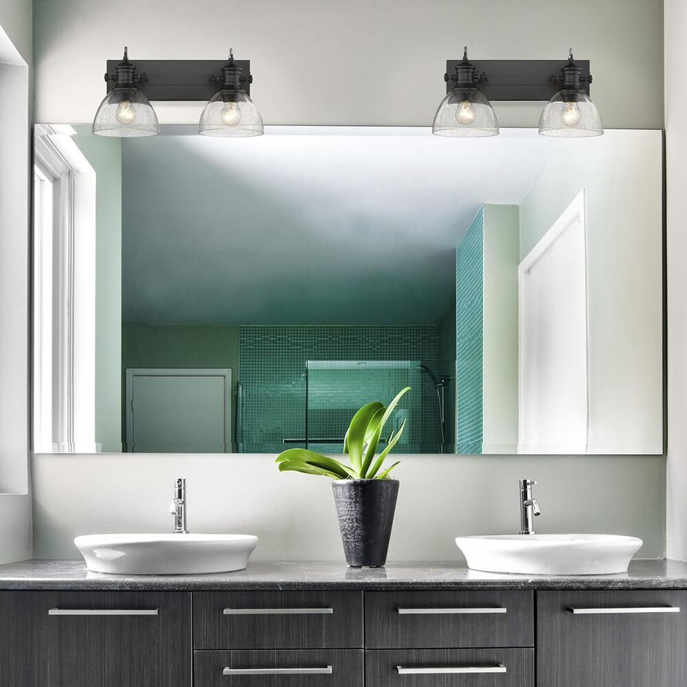 Golden Lighting Hines 2-Light Bath Vanity in Black with Seeded Glass, , large