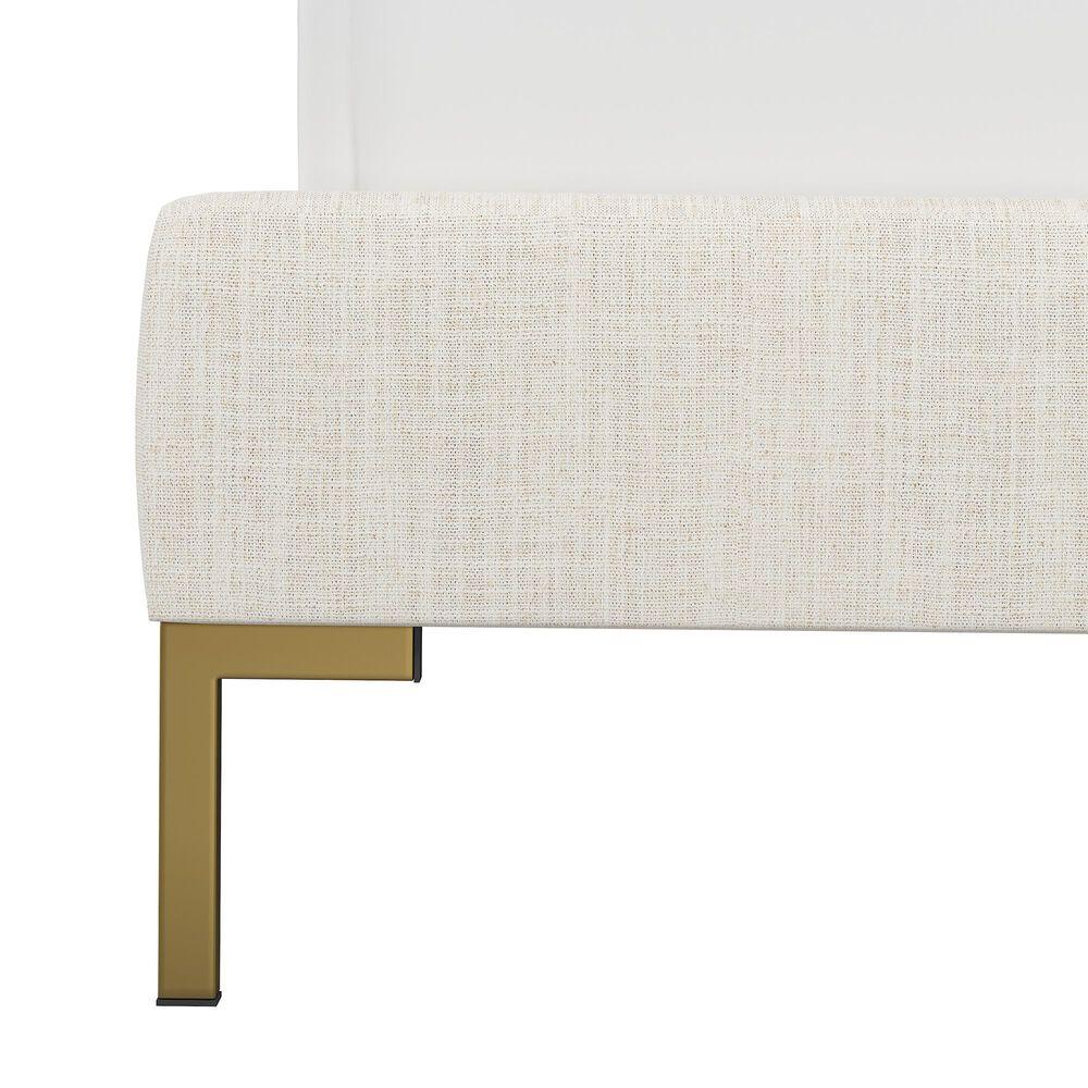 Skyline Furniture Upholstered Twin Platform Bed in Linen Talc, , large