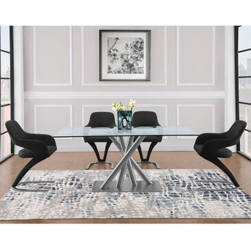 Global Furniture USA 5-Piece Dinning Set in Brushed Stainless, , large