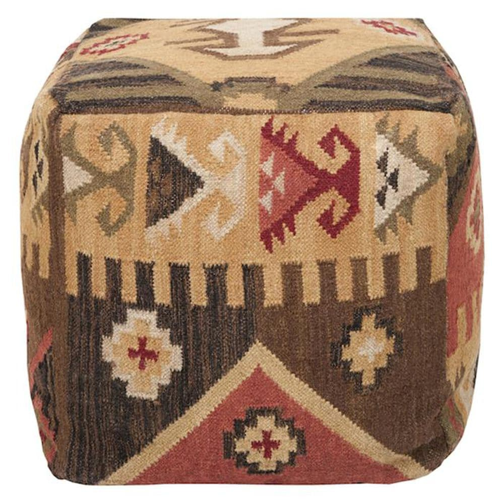 """Surya Inc 18"""" x 18"""" Pouf in Maroon and Brown, , large"""