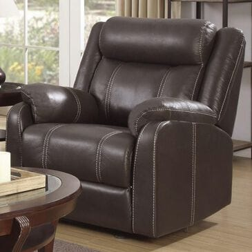 Klaussner Domino Glider Recliner in Valor Chocolate, , large