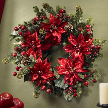 """Nearly Natural Inc 24"""" Poinsettia & Berry Wreath, , large"""