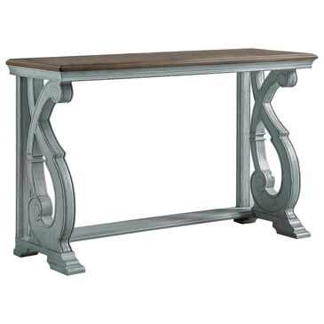 Furniture of America Rojas Console Table in Oak and Antique Blue, , large