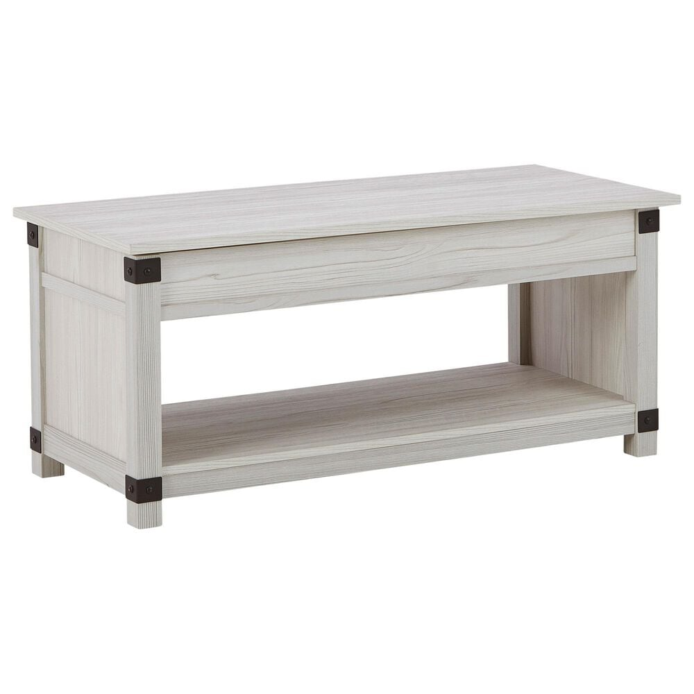 Signature Design by Ashley Bayflynn Lift-Top Coffee Table in Whitewash, , large