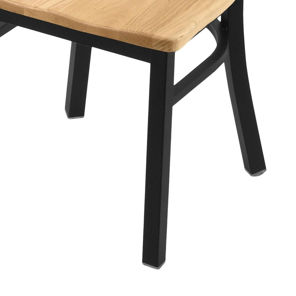 """Holland Bar Stool 620 Catalina 18"""" Chair with Black Wrinkle and Natural Oak Seat, , large"""