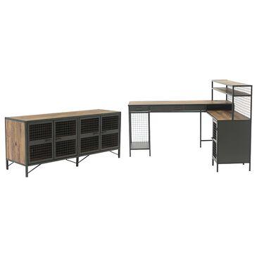 Sauder Boulevard Cafe L-Shaped Desk and Credenza in Vintage Oak and Black, , large