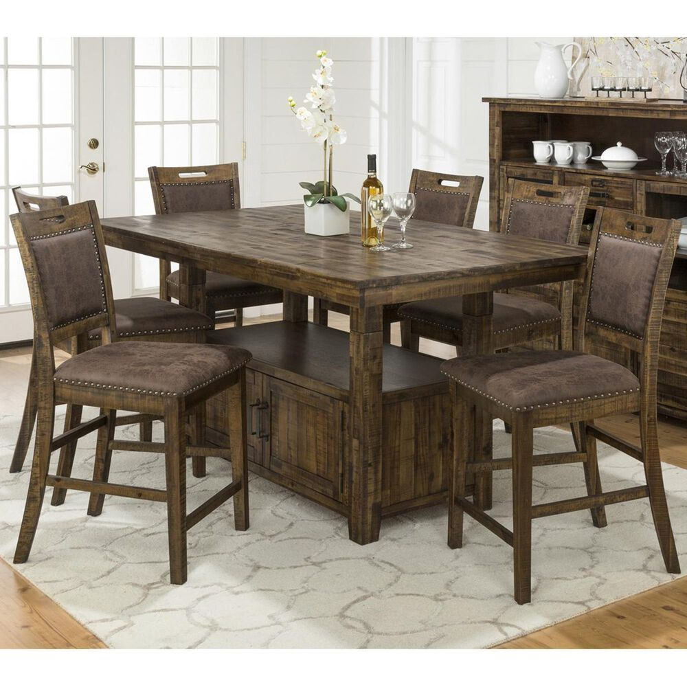 Waltham Cannon Valley Adjustable 7-Piece Counter Height Dining Set in Medium Brown, , large