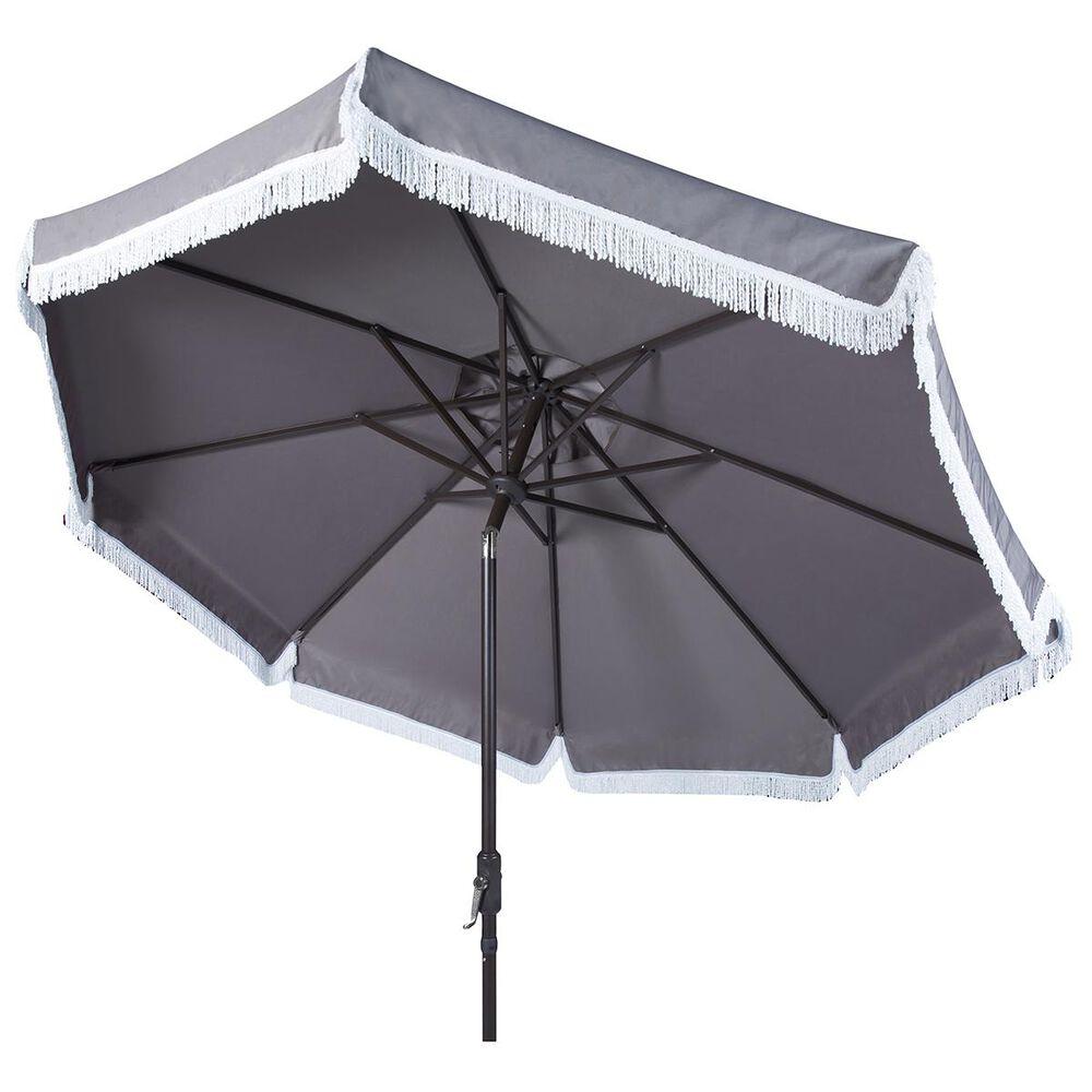 Safavieh Milan 9' Umbrella in Grey and White, , large