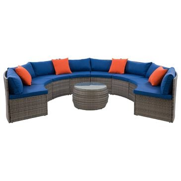 CorLiving Parksville 5-Piece Patio Sectional Set in Blended Grey/Oxford Blue, , large