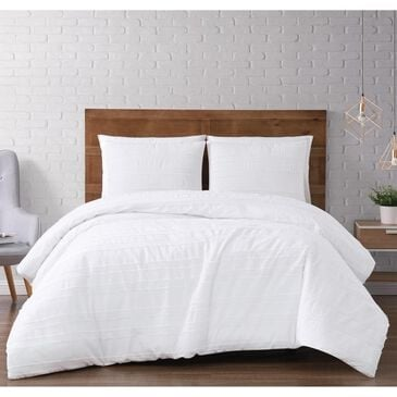 Pem America Brooklyn Loom Carlisle Stripe 3-Piece Full/Queen Comforter Set in White, , large