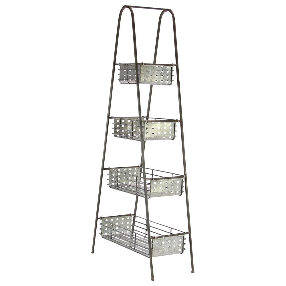 """Maple and Jade 65"""" x 29"""" 4-Tiered Storage Rack in Black, , large"""