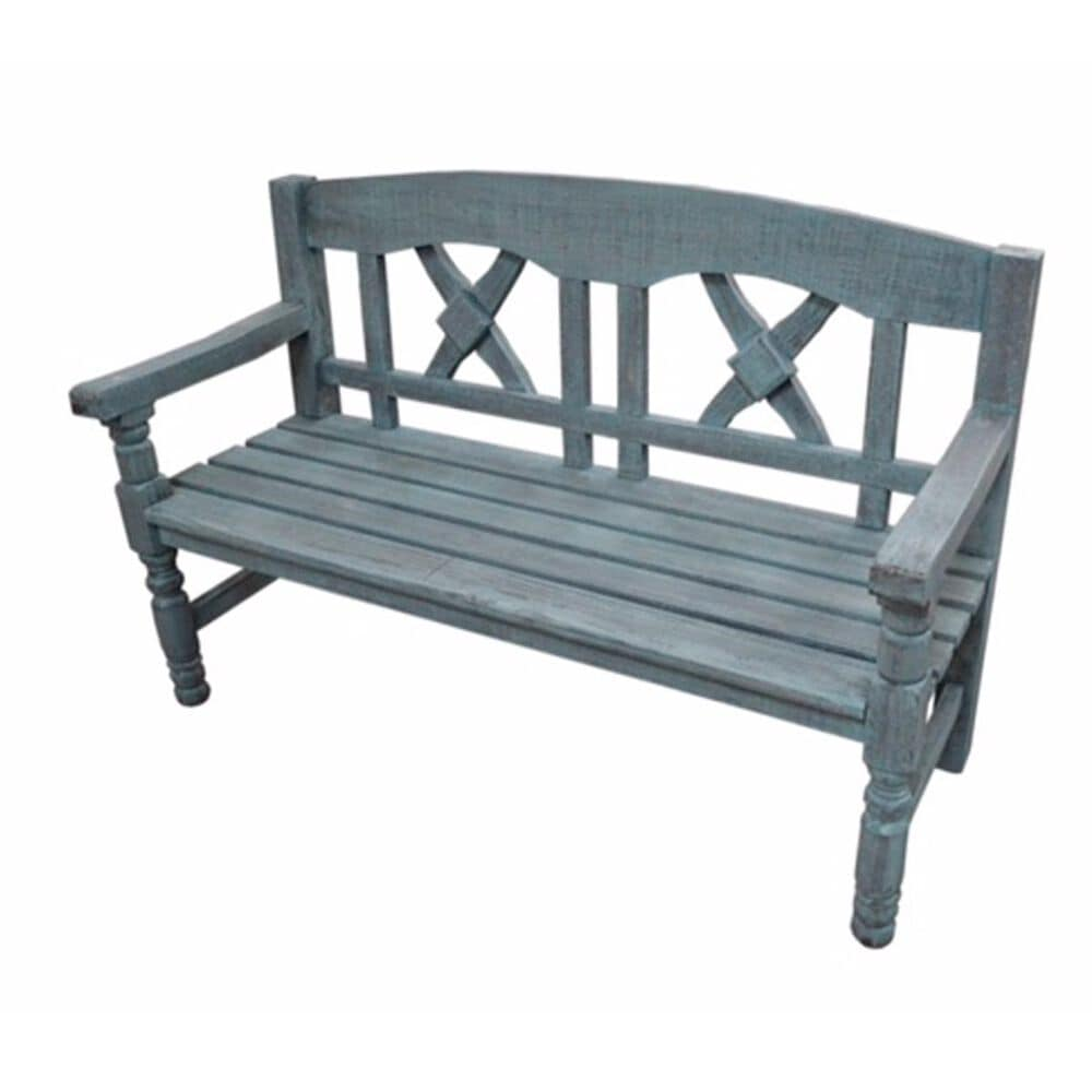 Santa Fe Rustic Tucson Bench in Weathered Blue, , large