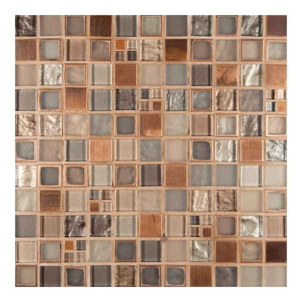 "MS International Manhattan Blend 12"" x 12"" Glass Metal Mosaic Sheet, , large"