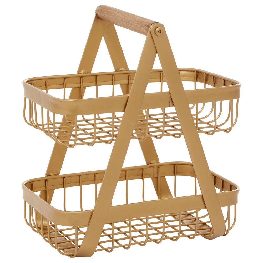 "Maple and Jade 12"" Modern Metal Storage Basket  in Yellow, , large"
