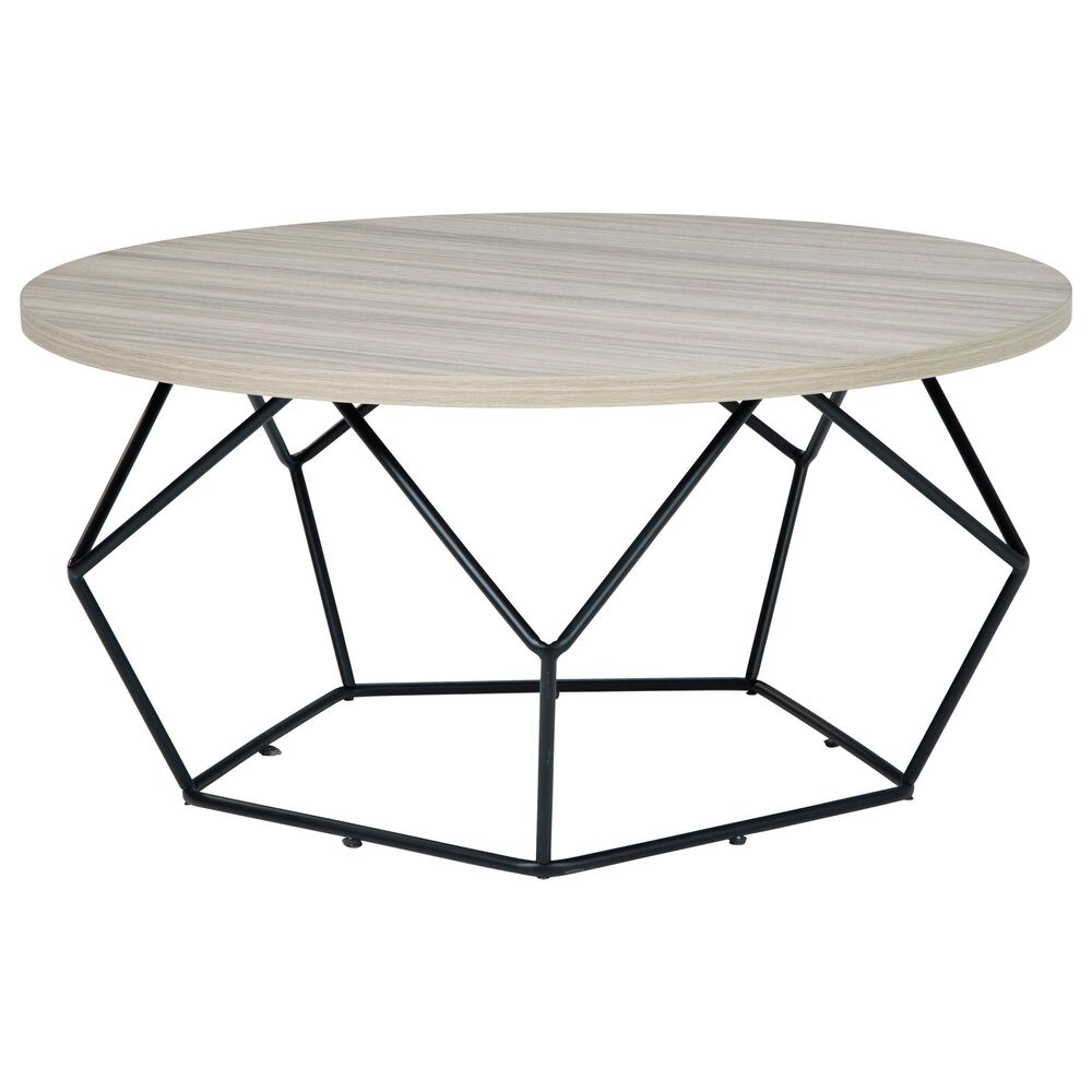 Signature Design by Ashley Waylowe Round Cocktail Table in Light Brown and Aged Black, , large