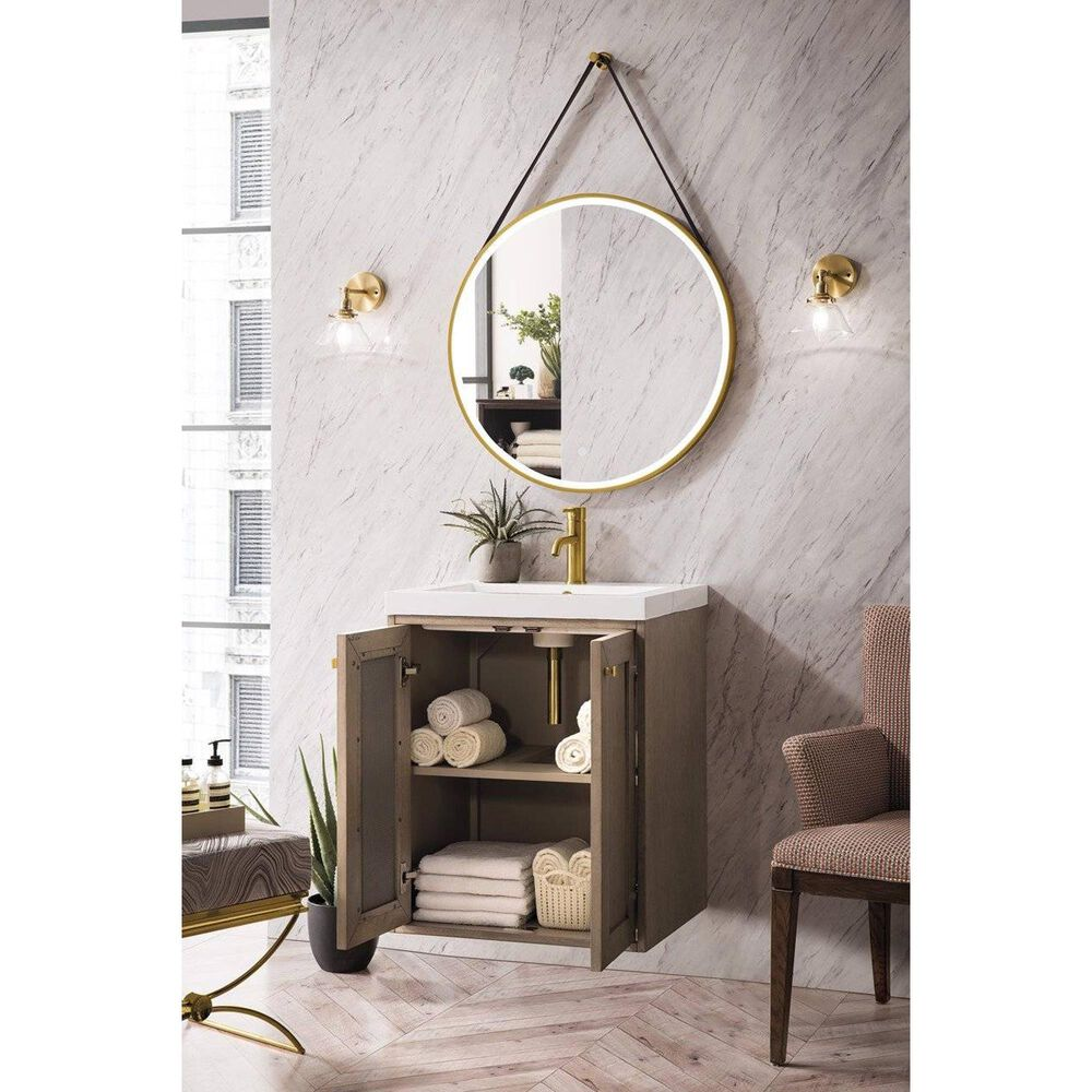 """James Martin Chianti 20"""" Single Bathroom Vanity in Whitewashed Walnut with White Glossy Solid Surface Resin Top, , large"""