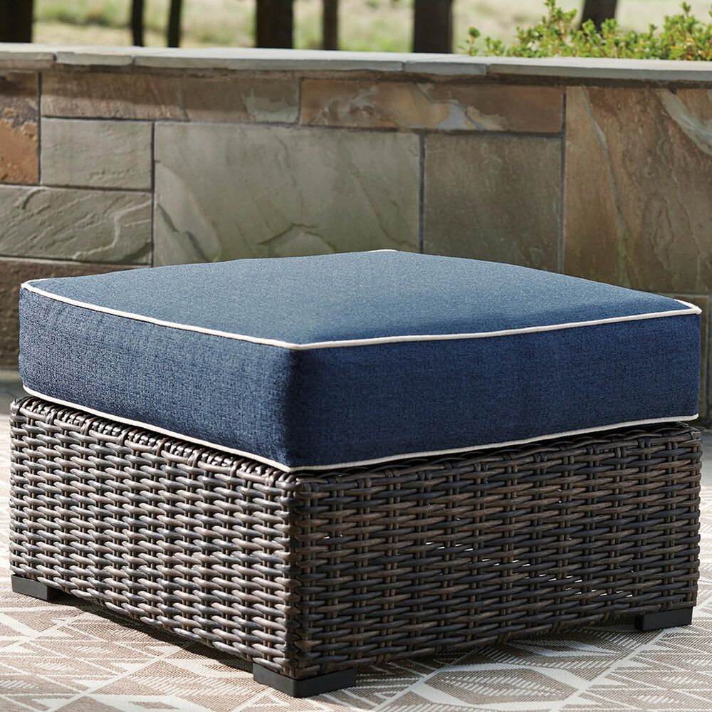 Signature Design by Ashley Grasson Lane Ottoman with Blue Cushion in Brown, , large