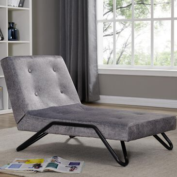 ACEssentials Flip Out Lounger Chair in Grey Faux Leather, , large