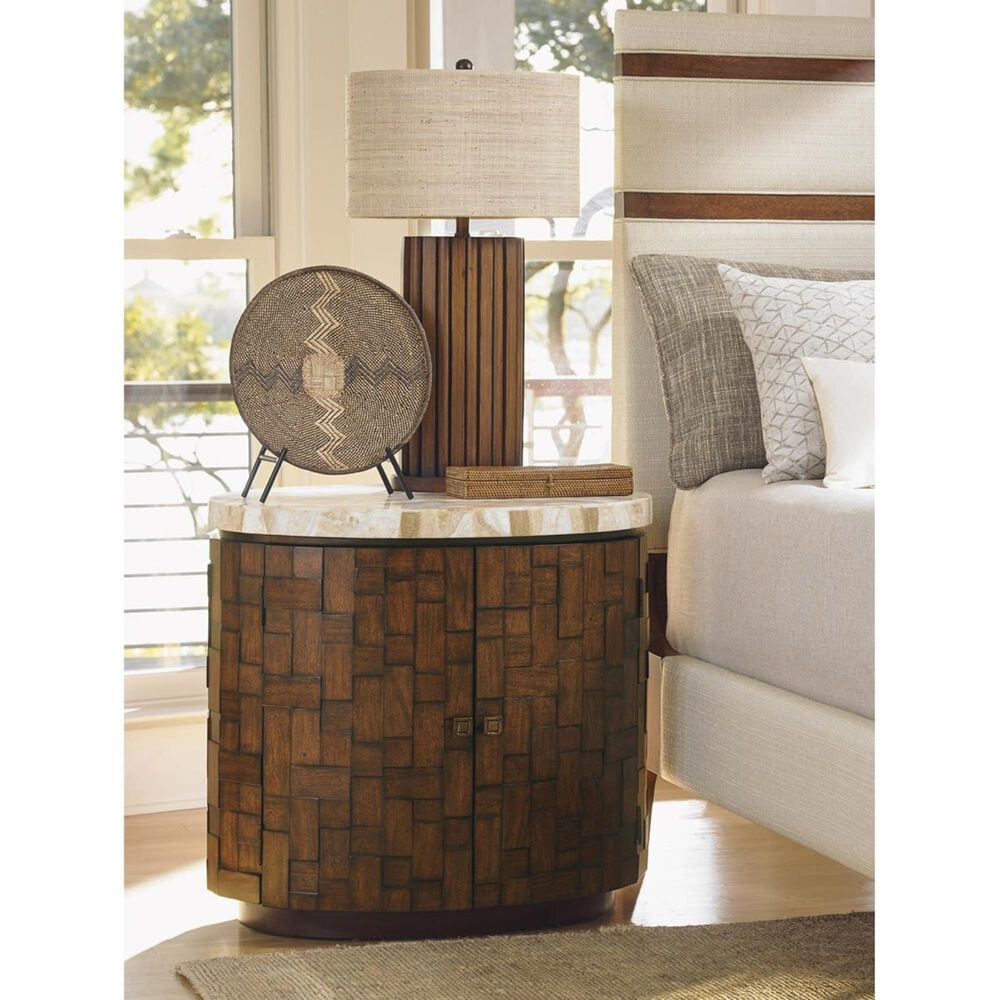 Tommy Bahama Home Island Fusion Banyan Accent Table in Dark Walnut, , large