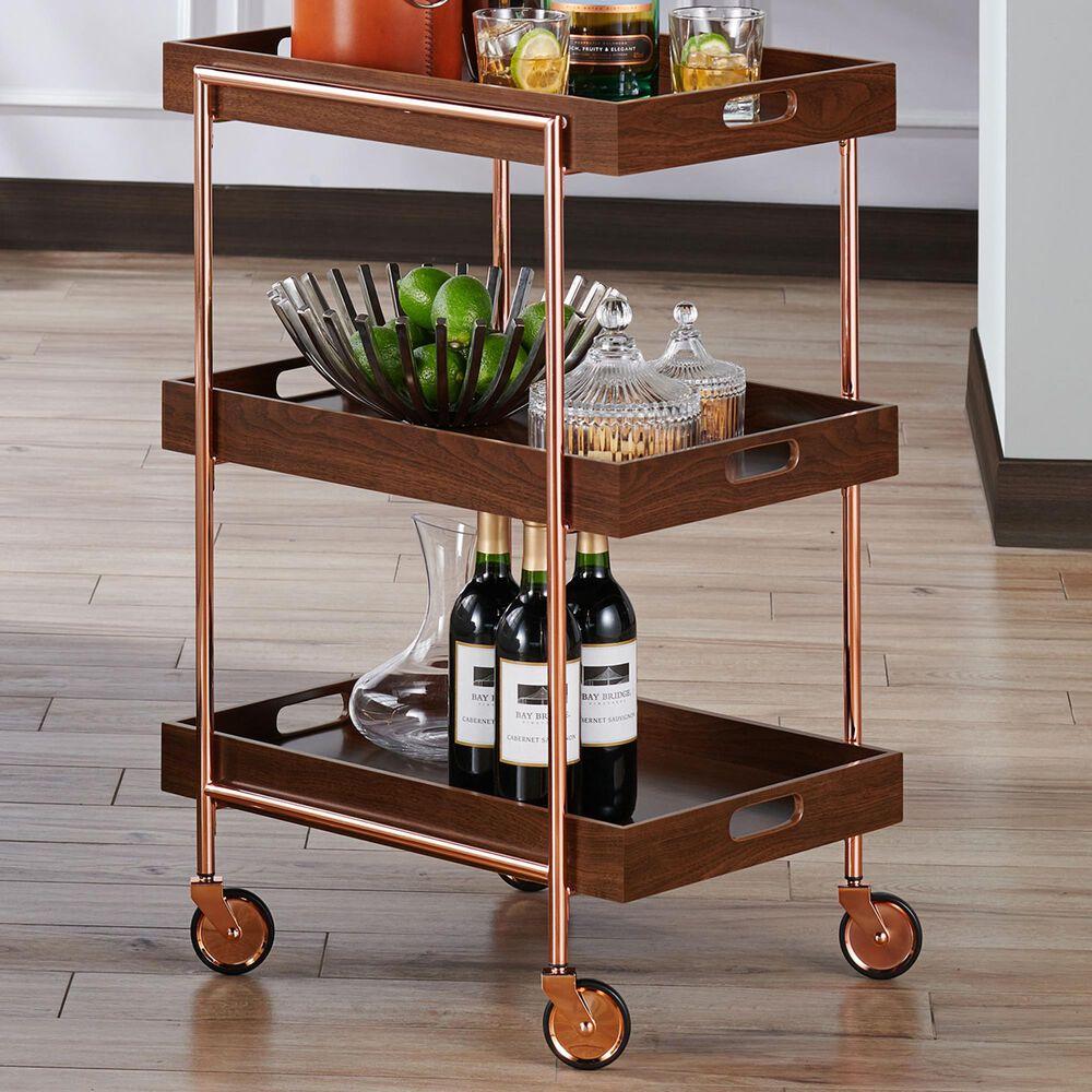 Furniture of America Kramer Kitchen Cart in Walnut and Chrome Copper, , large